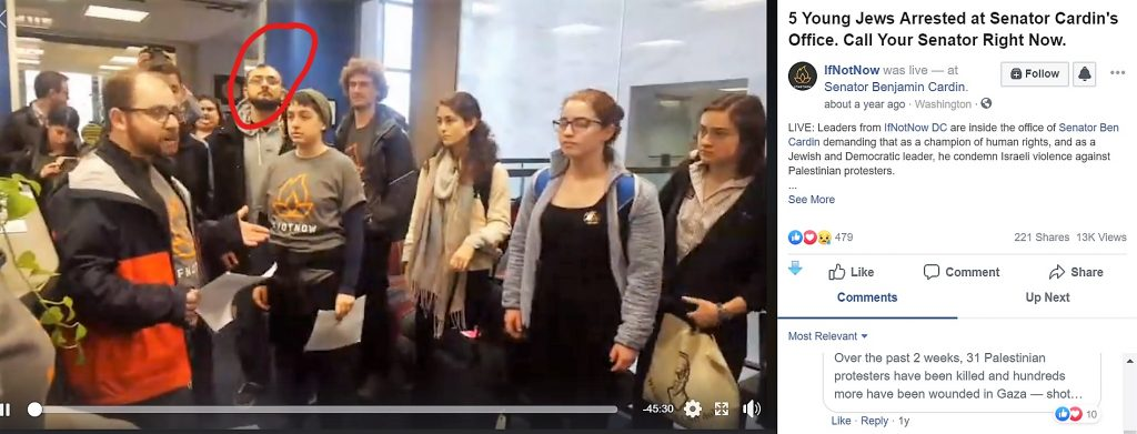 https://www.facebook.com/IfNotNowOrg/videos/5-young-jews-arrested-at-senator-cardins-office-call-your-senator-right-now/1709301999156761/
