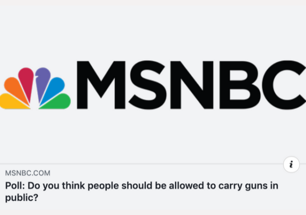 http://www.msnbc.com/msnbc/poll-do-you-think-people-should-be-allowed-carry-guns-public?fbclid=IwAR1iHA9CHU_6NrxQr3EvRUxxdwL6PKRr0dYAjItdgQ6tiupdV5ugHECpzvk