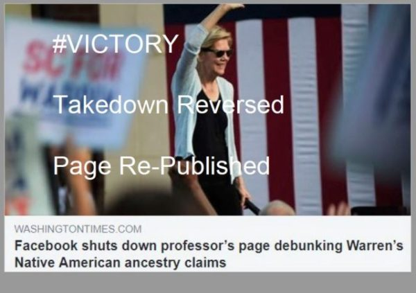 https://www.washingtontimes.com/news/2019/oct/1/facebook-shuts-down-professors-page-debunking-warr/